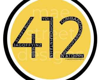 """412 Pittsburghese Pittsburgh Sticker or Magnet 3"""" 
