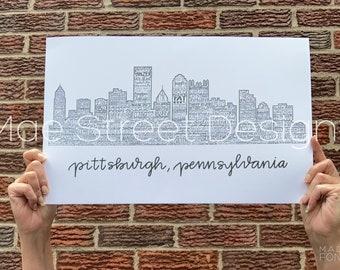 Pittsburgh Skyline Art Print | Pittsburgh Bridges Art Print | Pittsburgh gift | Pittsburgh art | Pittsburgh Print | Mae Street Designs |
