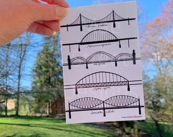 Bridges of Pittsburgh hand drawn Postcard Pack of 5 | Pittsburgh Gift | Mae Street Designs | Steel City | Pittsburgh Pennsylvania