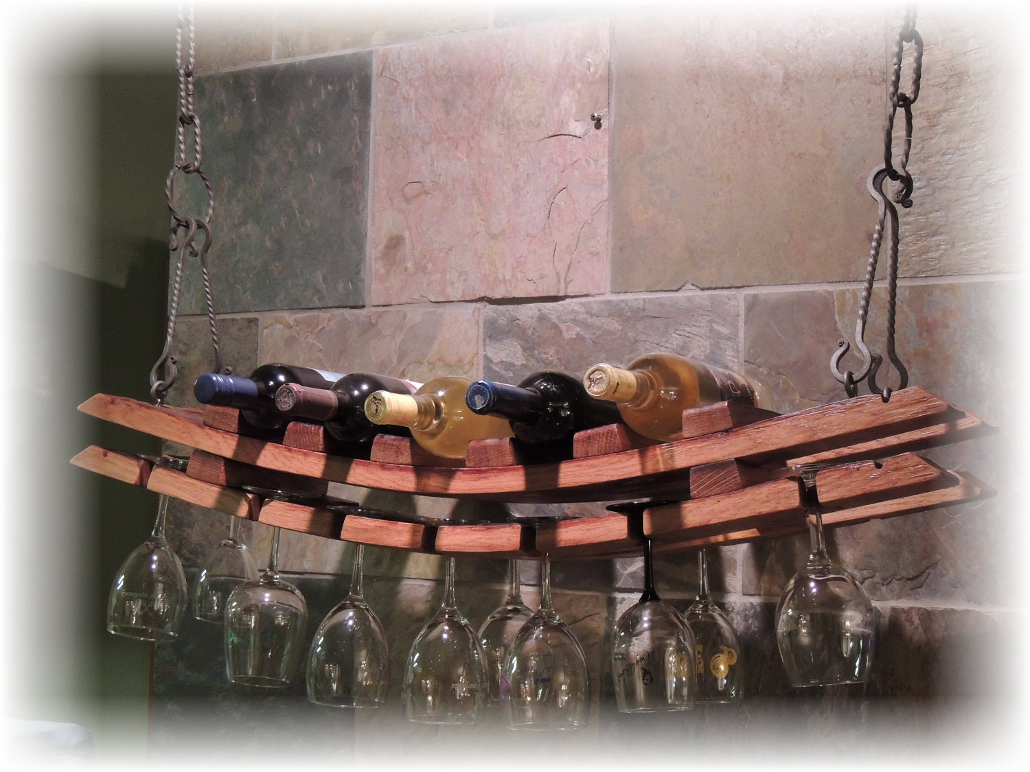 Wine Barrel Stave Hanging Glass And Bottle Rack Etsy