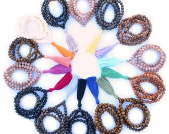 108 Mala Bead, Mala Bead, Mala Necklace, Tassel Bead Necklace, Bohemian Tassel Necklace, Buddhist Jewelry,Wood Bead Necklace, Gemstone Mala