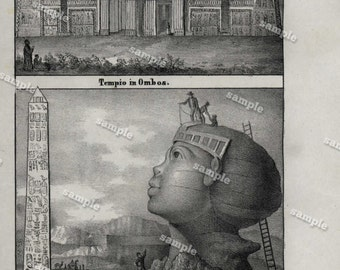 Antique Original steel Engraving from Universal costume Dated 1839 Architecture