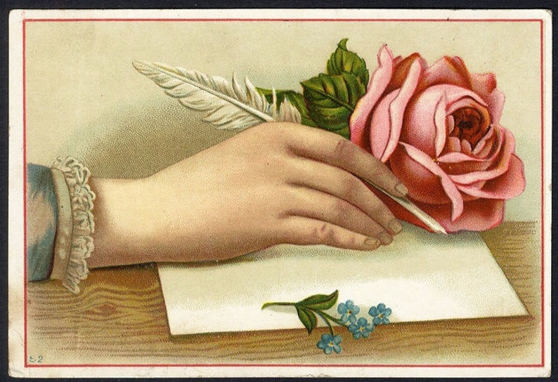 Writing Hand Trade card Original Vintage Adverting Card chrome Victorian cards collectors card