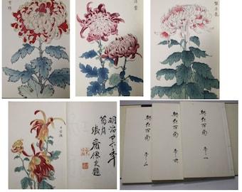 Original Antique Vintage Japanese Woodblock Books Chrysanthemum Flowers  Showa period  second Edition Three Books Lavishly  illustrated