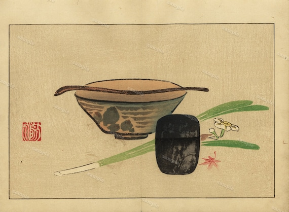 Japanese Bowl Herbs Antique Woodblock Print From 1900 Wall Etsy