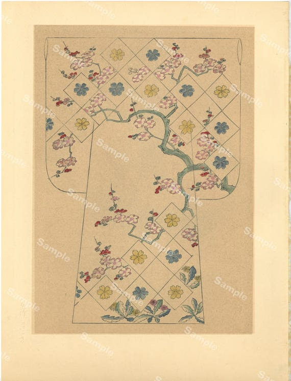 Printed on a nice paper Antique Original woodblock  Meiji period Japanese Pattern