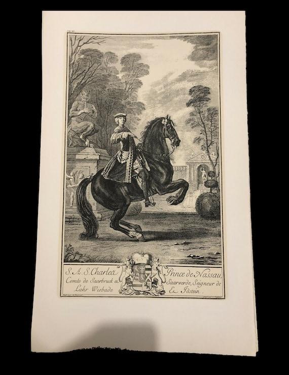 Original vintage Engraving print Parrocel prince of nassau cavalier equitation dressage jumping too big for my scanner