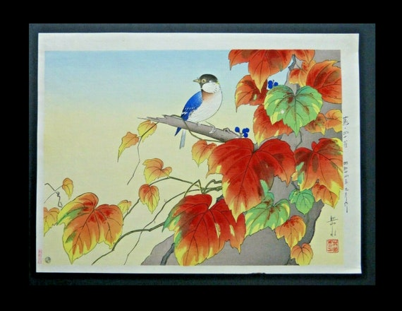 Japanese Woodblock Print Gakusui Ide Ivy and Great Tit in Autumn