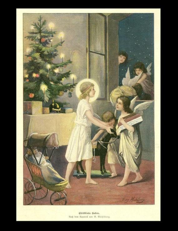 Original Rare Christmas, christkindls Gifts, angels churbs circa 1890