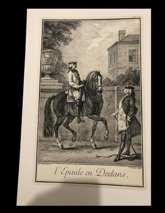 Original vintage Engraving print Parrocel shoulder within cavalier equitation dressage jumping too big for my scanner