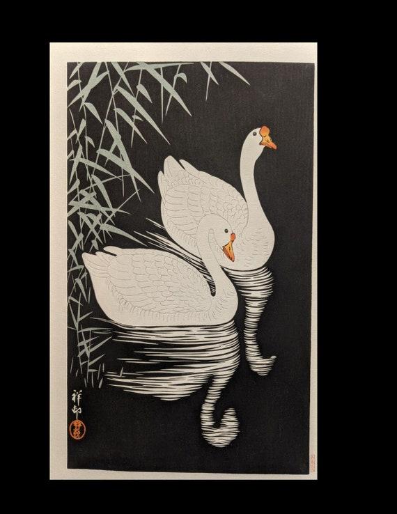 Original Shoson Japanese Woodblock Print Geese
