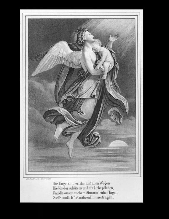 Guardian Angel and Child, Poem, Original Lithograph circa 1861
