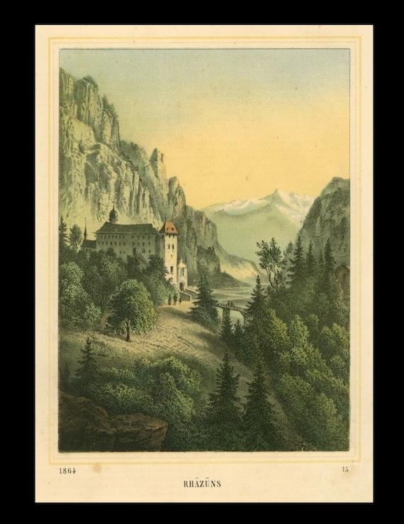 Rare Rhäzüns, Switzerland, View, Original Lithograph print circa  1864
