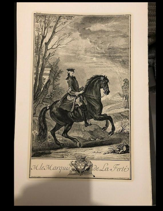 Original vintage Engraving print Parrocel marquis de la Ferte horse rider dressage jumping too big for my scanner