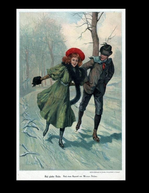 Skating, snowmobiling, pair of running, Original Color print circa 1898