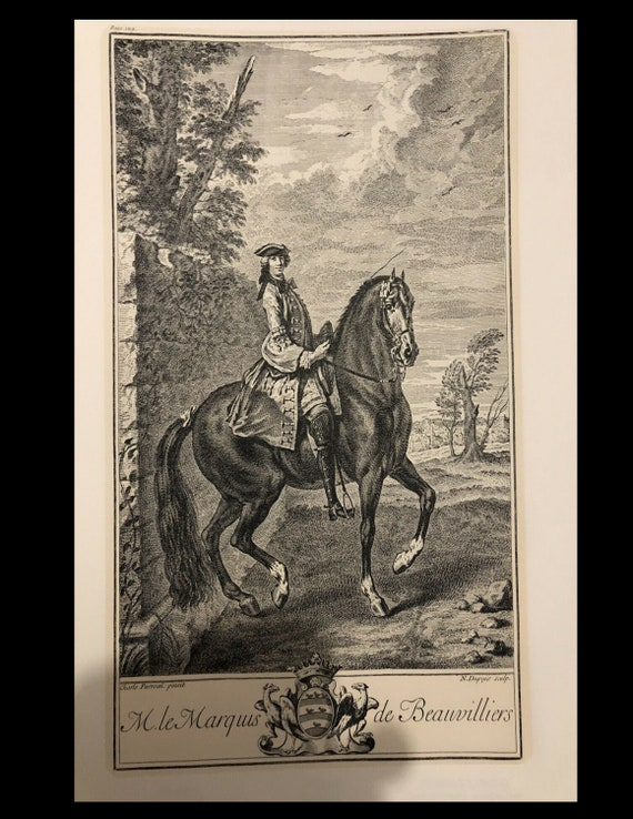 Original vintage Engraving print Parrocel the marquis de Beauvilliers equestrian dressage jumping jumping too big for my scanner
