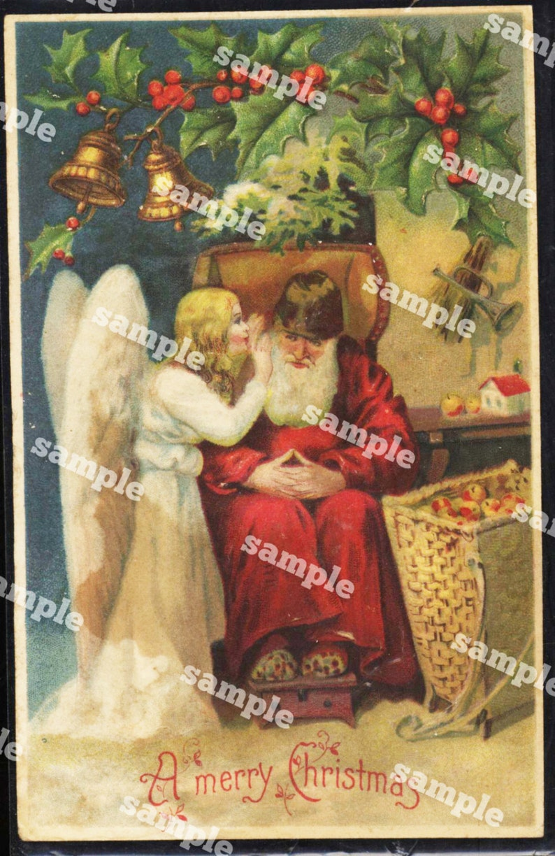 1900 Antique Santa  Post Card  From 1900/'s Original And Rare Greetings Joyous Christmas  USED Card In a plastic sleeve Rare