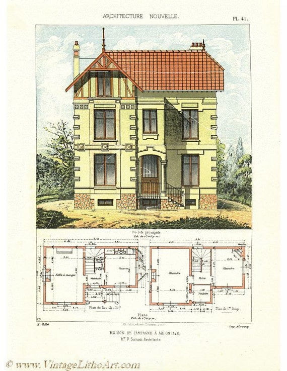 Original Antique Architectural Print Architecture Petites Etsy