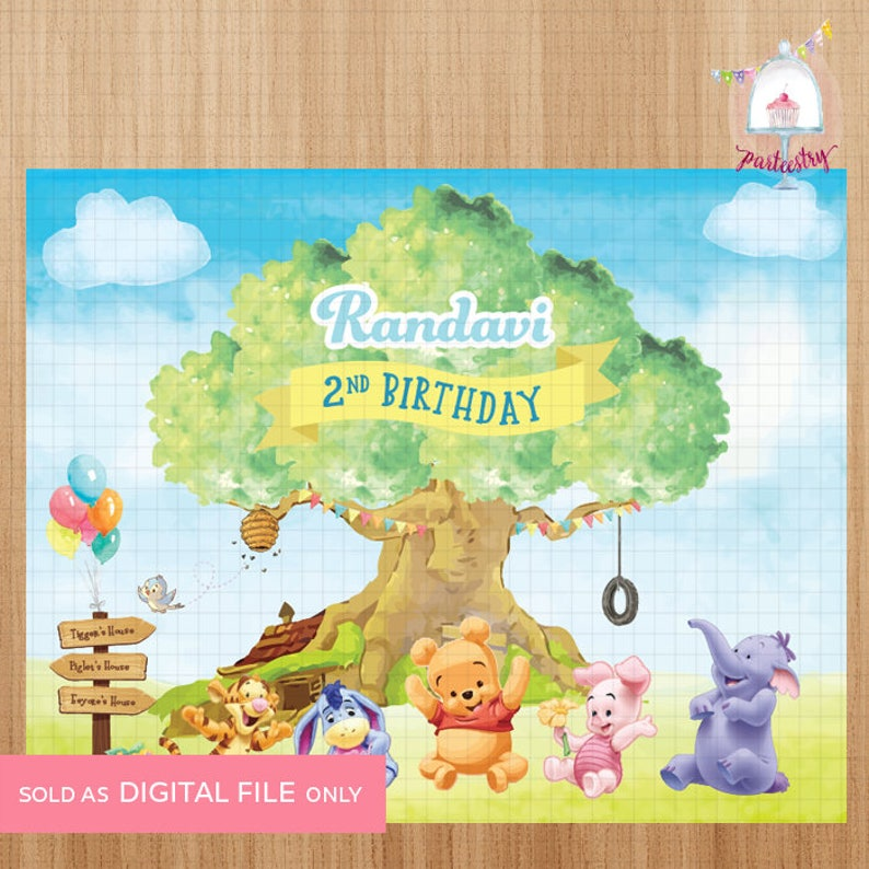 Baby Pooh and Friends Birthday Backdrop Banner Printable Backdrop Banner