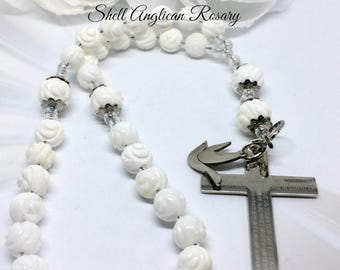 White Rose Carved Anglican Prayer Beads,  Lord's Prayer Rosary, Gift for Her,  Protestant Rosary Beads, Lord's Prayer Rosary,  Holy Spirit