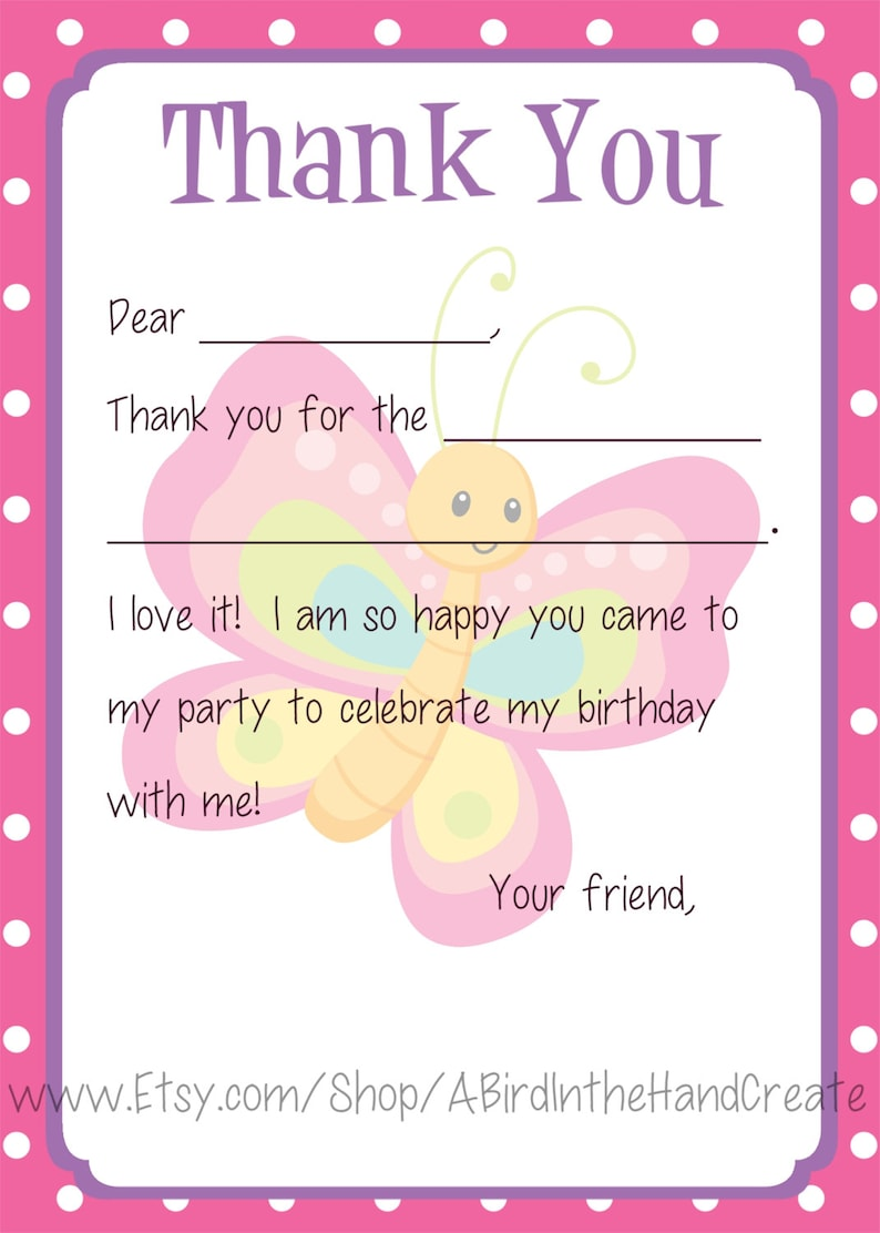Bugs, Snails, Dragonfly, Butterfly Kids Fill In the Blank Thank You Cards for Girls