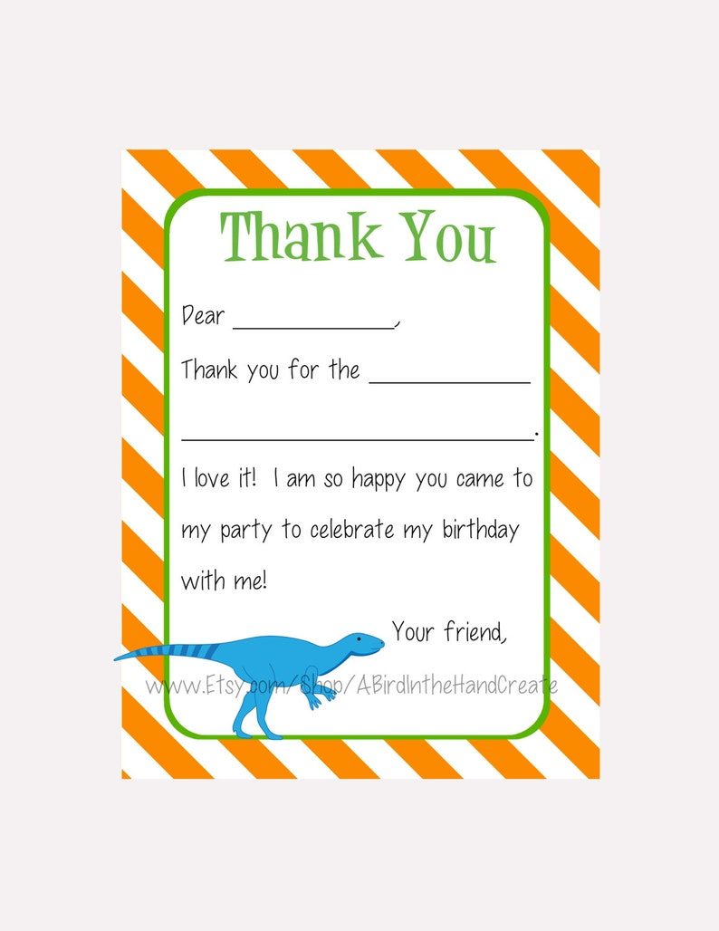 Kids Fill In the Blank Thank You Cards for Boys Digital PDF File Dinosaurs - T Rex, Brontosaurus, Triceratops, Stegosaurus