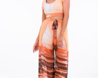 "Women's Pants Chiffon Wrap ""Glow"" Sunrise Print"