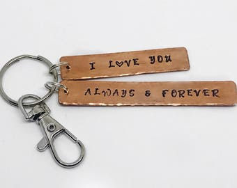 I love you. Always and forever. Stamped keyring. Personalised keyring. Copper keyring. Key ring. Bag charm. Copper pipe