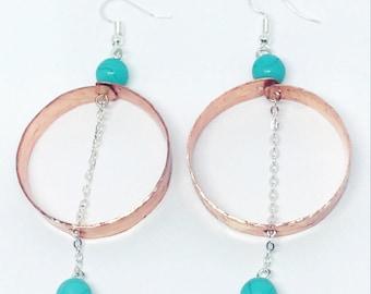 Hoop copper earrings. Turquoise and copper earrings