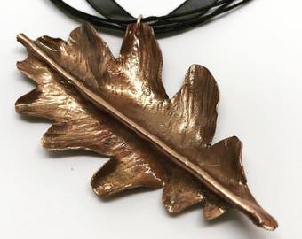 Copper oak leaf necklace