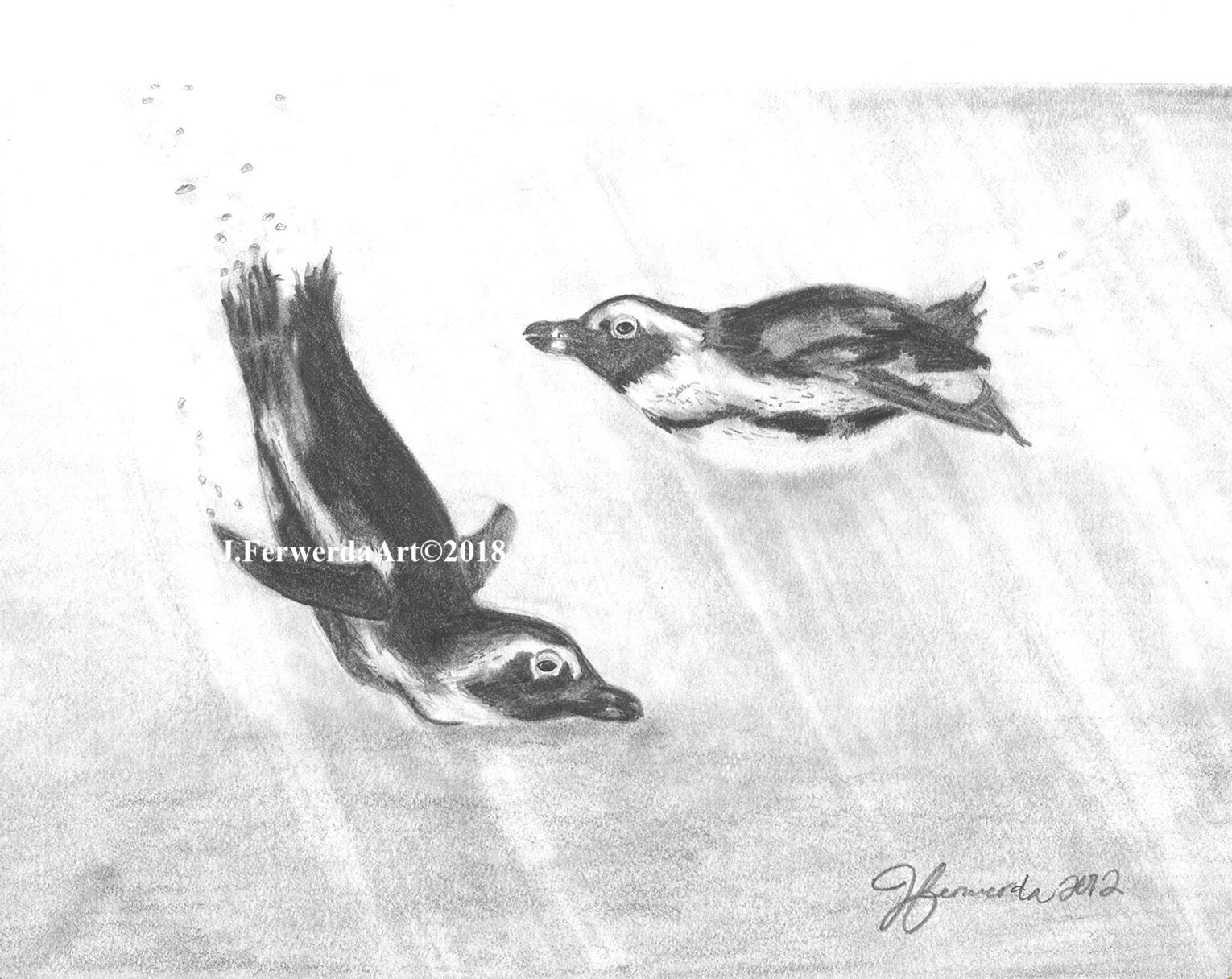 Pencil drawing print penguin play day 112