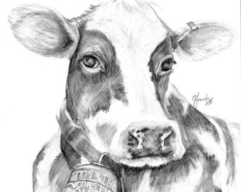 Pencil Drawing Print - Til The Cows