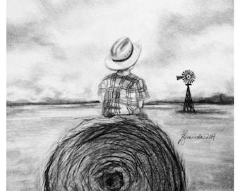 Pencil Drawing Print - Farm Field