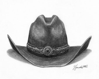 Pencil Drawing Print - Hat At The Door Day 360