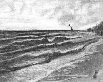 Pencil Drawing Print - Waves Of Isaac Day 185