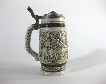 Vintage Beer Stein, Cattle Drive ~ Western Scene ~ Stage Coach ~ Roping ~ Chuckwagon #261089 Limited Edition Stein