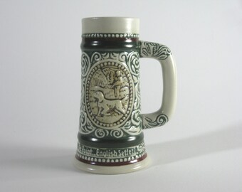 """Vintage Beer Stein ~ Small Avon """"The Strike"""" Raibow Trout English Setter ~ #307849 Limited"""