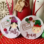 FIVER FRIDAY Personalised Boy or Girl Elf theme tree decoration - Christmas decoration - Elf
