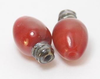 lamp work glass beads red christmas light bulb pair