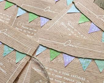 Kraft wedding invitation flags (set of 8) Liberty - Liberty gingham stripes polka dots