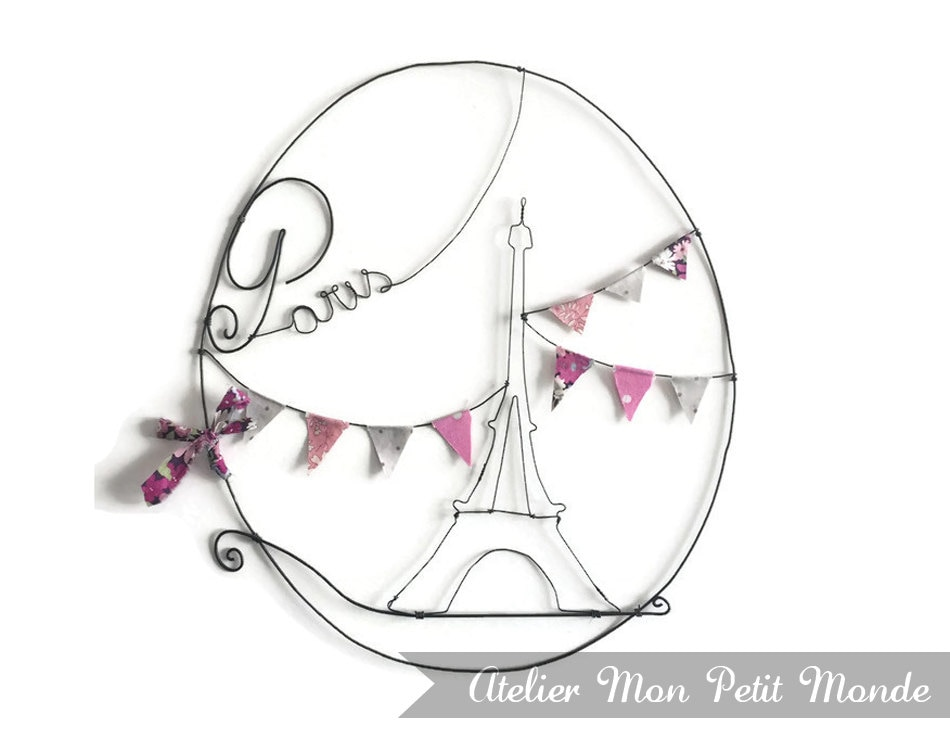 Deco Wall Paris Wire Eiffel Tower Garland Of Pennants Pink