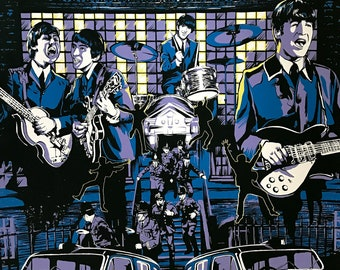 THE BEATLES Poster • A Hard Days Night •  Movie  18x24 screenprint Limited Edition Tribute Art AMP Print s/n Free Shipping