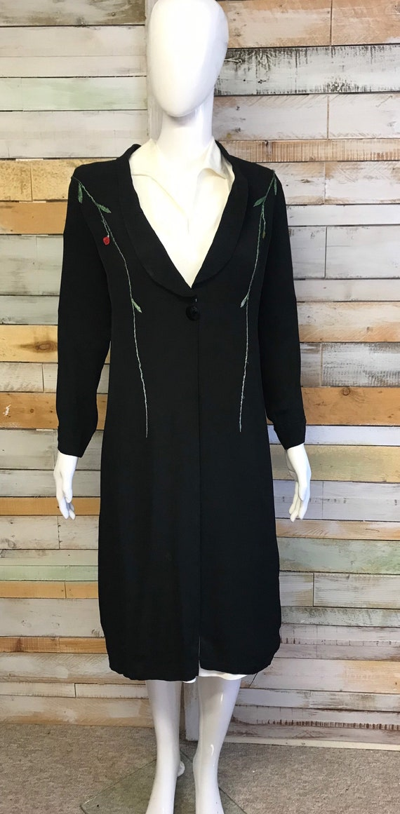 REDUCED - Wonderful 1920's/30's black embroidered… - image 3