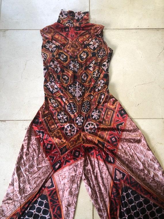 Vintage 1970s palazzo jumpsuit  - size 10-14 - image 2
