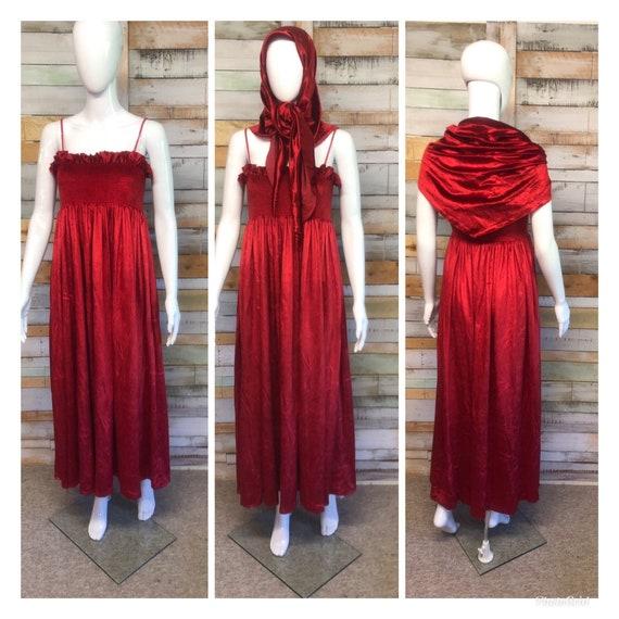 Vintage Jean Varon red velvet dress and shawl M/L