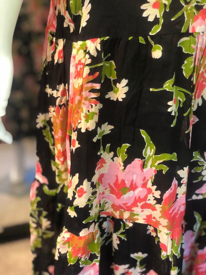 SHUBETTE 1970s vintage floral print maxi dress S