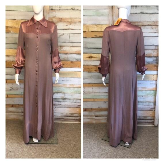 Iconic Ossie Clark maxi dress in plum 12/14