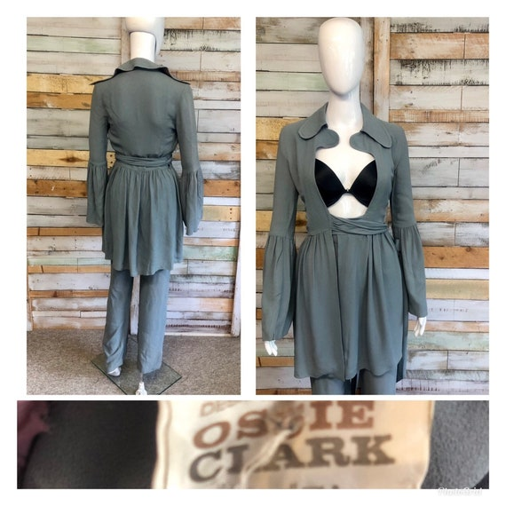 Rare numbered vintage Ossie Clark grey moss crepe