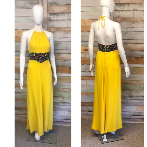 A lovely canary yellow Ossie Clark halter neck max