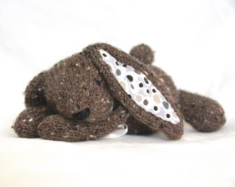 Hand Knit Bunny Rabbit Tweed Alpaca Brown stuffed handmade mini Collectible plush